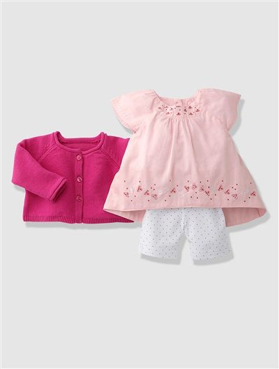 Newborn Baby Girl's Blouse, Cardigan & Leggings Outfit Fuchsia / pink / print