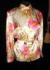 Sz 8 NWOT Silk Satin Blouse Pink Dahlias Gold Leopard Spots French style cuff