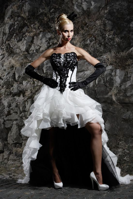 Front short long back. Extravagant fairytale wedding gown by Lucardis Feist