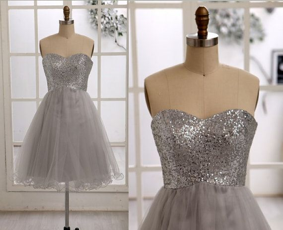 Silver Sequins Gray Tulle Bridesmaid Dress/Prom Dress/Party Dress Strapless Sweetheart Knee Short Dress