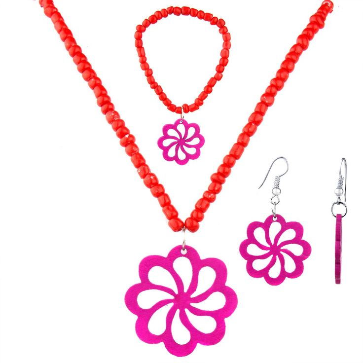 Little Girl Red Flower Tungsten Jewelry Set (Red Flower), Yellow