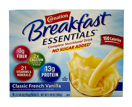 Carnation Instant Breakfast Essentials, Classic French Vanilla, No Sugar Added, 8-Count/0.705 Packets (Pack of 4) -- Check out the image by visiting the link.