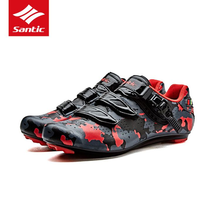 Santic Professional Road Cycling Shoes Camouflage Design Self-locking Shoes Breathable Bike Highway Shoes Zapatos ciclismo