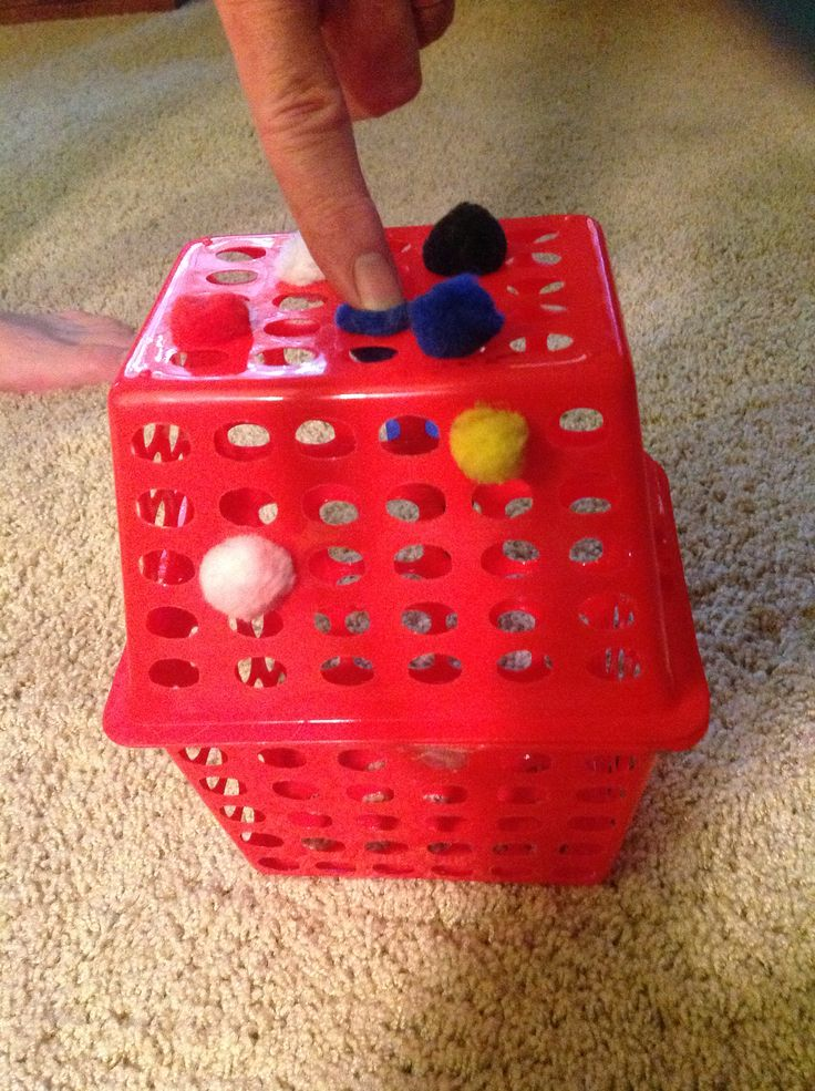 Pom Pon Push....finger isolation, strength and stability, motor planning, color idenification, sequencing.
