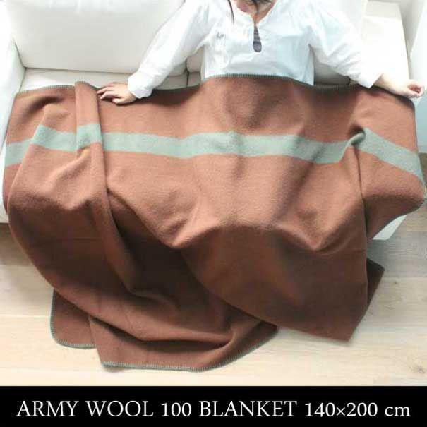オーストラリア国防軍に実際に使われているウールを使用したブランケット 一年中使えるのも魅力です 。ARMY WOOL 100 BLANKET 140×200cm アーミー ブランケット 膝かけ ひざかけ 掛け布団 毛布 防寒 カバー ウール ブラウン 茶色 ミリタリー アンティーク インダストリアル ビンテージ ネイティブ おしゃれ