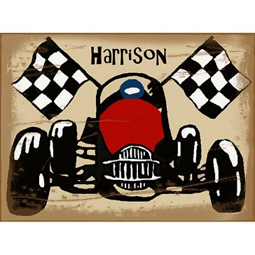 Harrison Race Car Flags Stretched Canvas