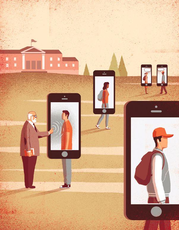 conceptual illustrations Digital Natives Analog Universities