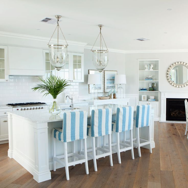 Queensland Homes Blog » » Blue Daze - light fixtures over island
