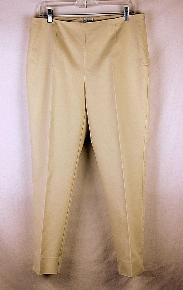 CHICOS Khakis Pants Slacks Sz 2 Cotton Spandex Beige Flat Tummy Side Zip  #Chicos #KhakisChinos #WorkCasual