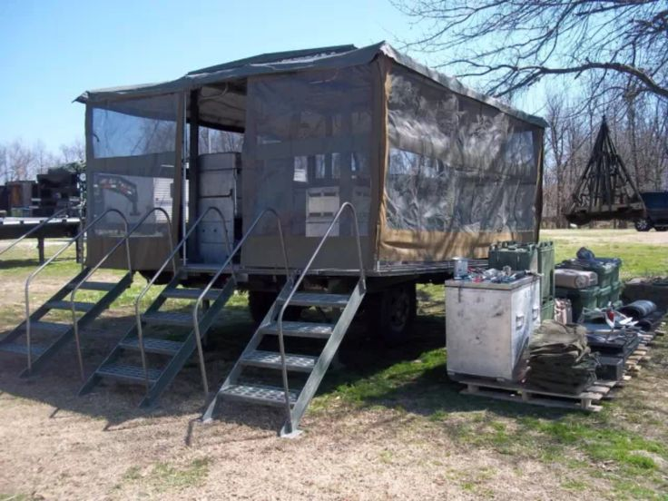 Temporary Kitchen Tents : Military surplus moble army field kitchen trailer tent no