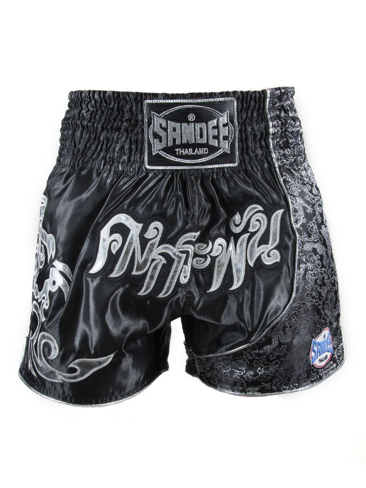 Sandee Unbreakable Thai Shorts - Black & Silver - All Ages
