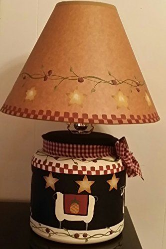 Primitive Country Stars, Sheep, Cow, Pig Table Lamp With Matching Shade