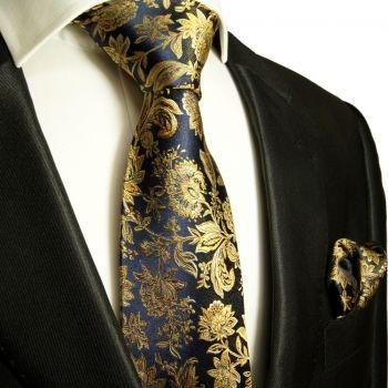 Silk Necktie Set 2pcs. Tie + Handkerchief blue black gold 683