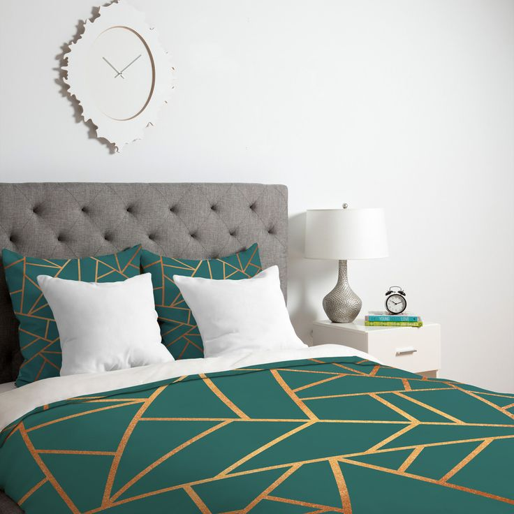 Elisabeth Fredriksson Copper and Teal Duvet Cover | DENY Designs Home Accessories