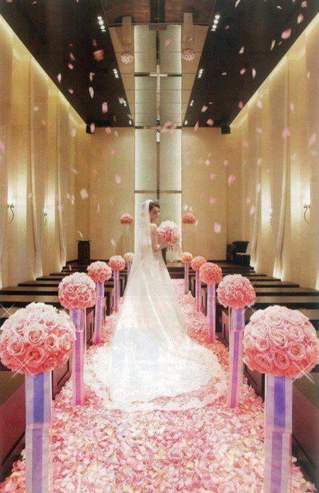 Church Decor Heavily Petaled Aisle Pink Rose Petals Available Www Flyboynatu Wedding