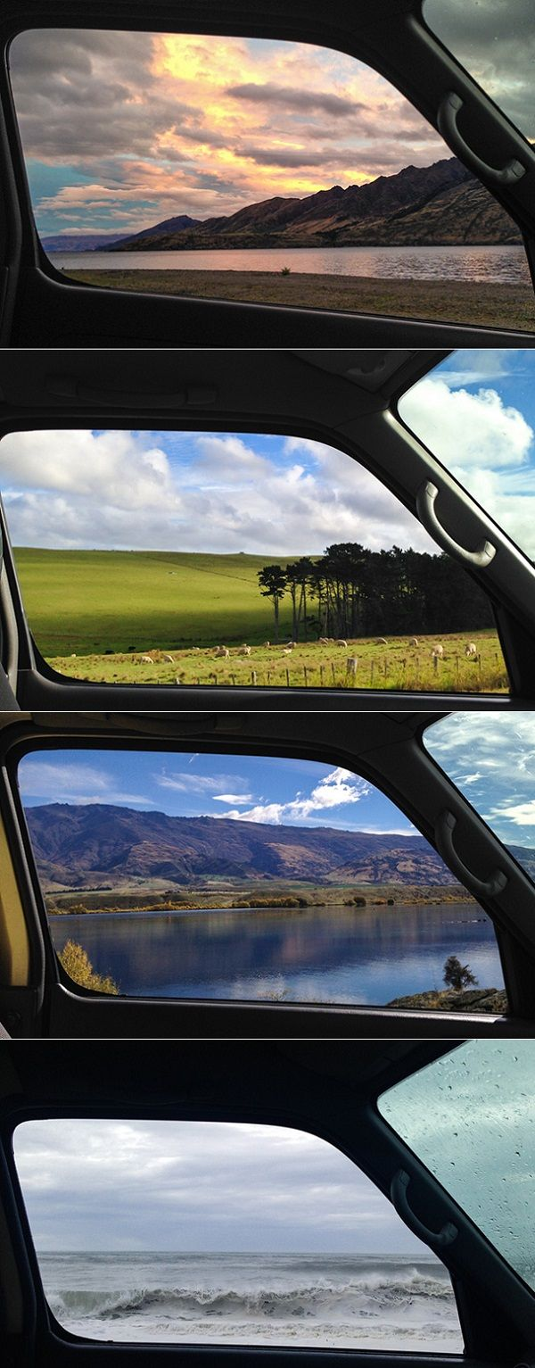 ((New Zealand through a window))  I loved that vacation.... If I ever moved out of the country, it would be here. ♡