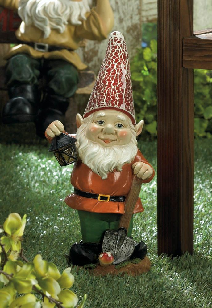 Solar Power Garden Gnome: Fun Gnome Sculpture With Red Lighted Hat And  Light Up Lantern