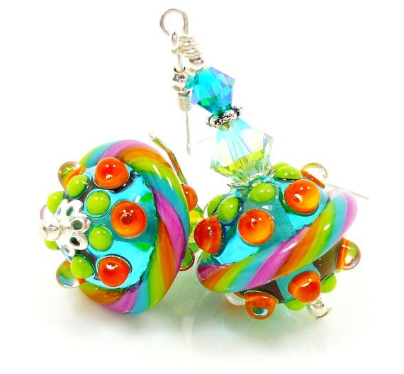 teal lampwork earrings teal glass earrings teal lime lampwork earrings lampwork sterling earrings