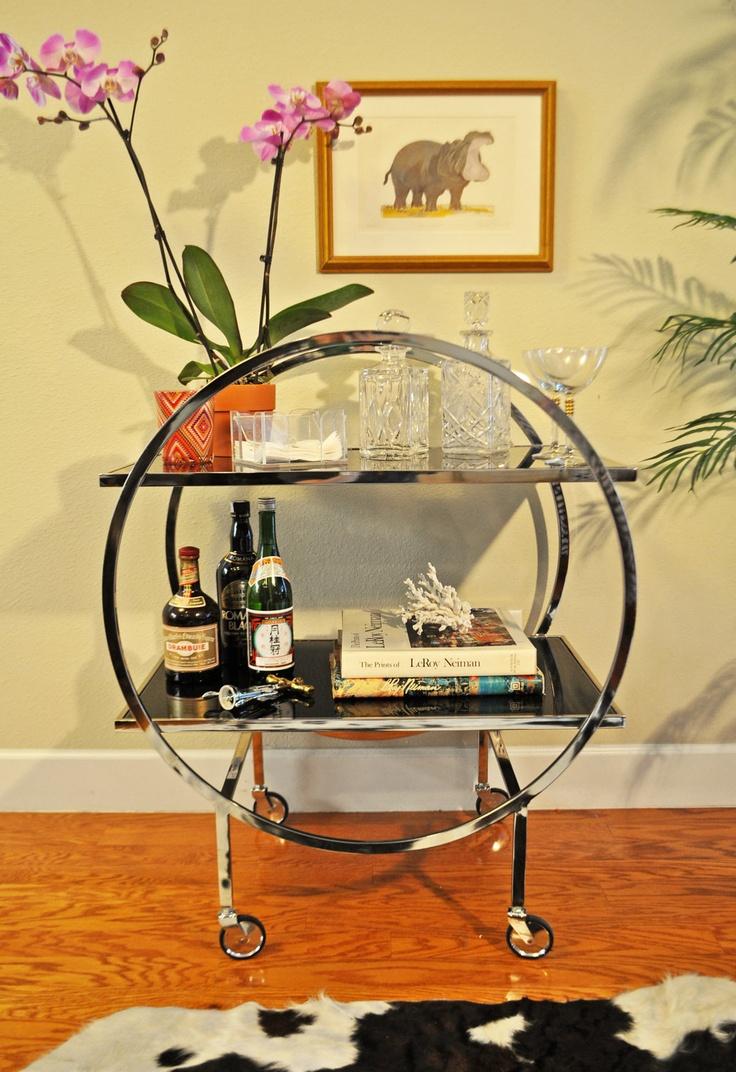 Chrome & Black Glass Mid Century Bar Cart. $600.00, via Etsy.