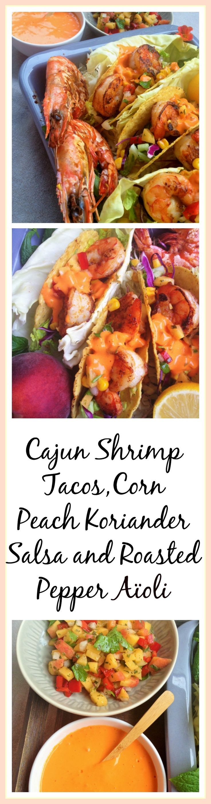 Cajun Jumbo Shrimp Tacos with Corn, a Peach & Koriander Salsa and Roasted Pepper Aïoli. Do I need to say more? This is almost to good to be true. Such a great recipe. thecookingspoon.org