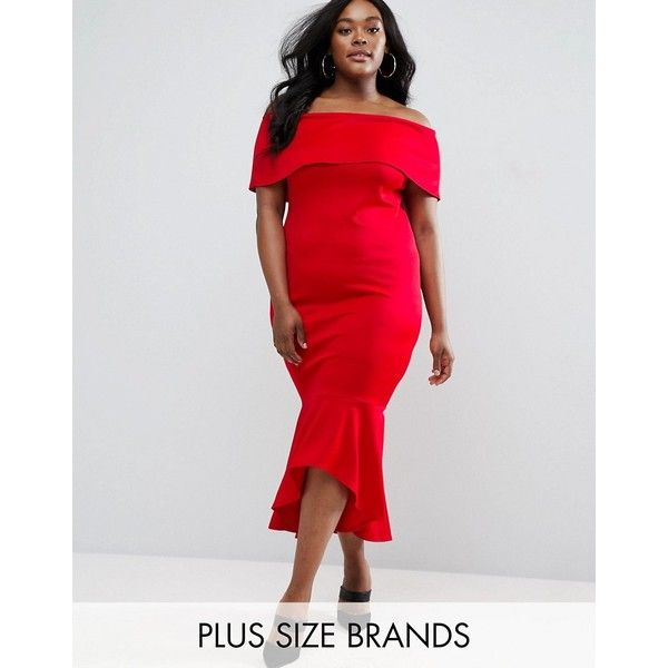 Club L Plus Bardot Dress With Peplum Hem ($35) ❤ liked on Polyvore featuring dresses, red, red peplum dress, tall plus size dresses, plus size dresses, plus size peplum dress and plus size body con dresses