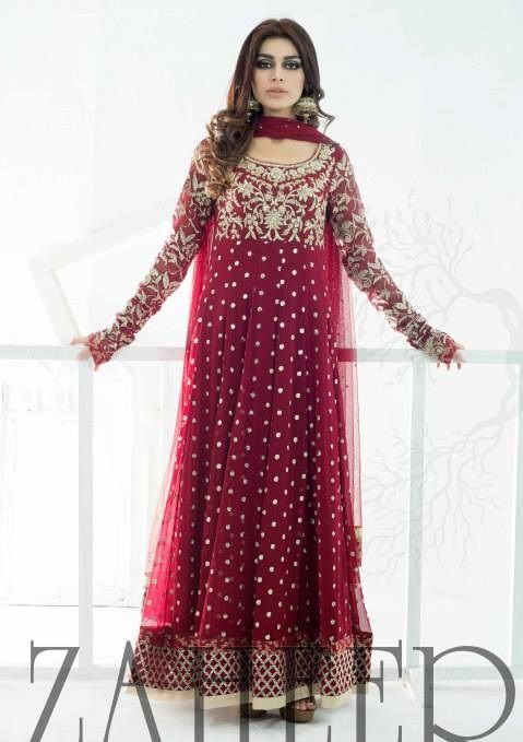 Red Anarkali by Zaheer Abbas Love but wish it would fit more snug