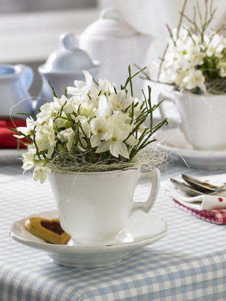 flowers in mugs and tea cups for cafe adn tables  #easter