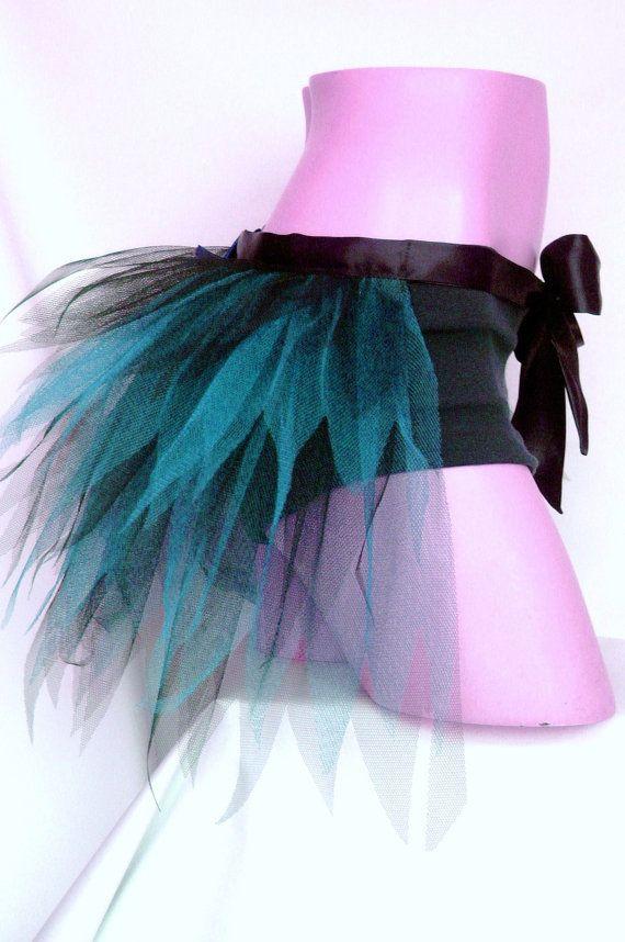 Black Fluorescent Turquoise Blue HALF- TUTU BUSTLE Net Over- Skirt