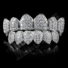18K White Gold Plated Custom Slugs CZ Vampire Fang Top Bottom GRILLZ Teeth Set