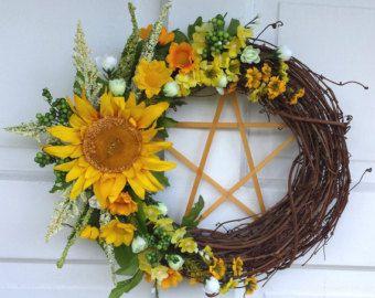 Sunflower Pentacle Wreath,  Litha Wreath, Pagan Wreath, Summer Wreath, Fall Wreath