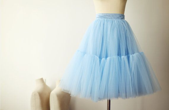 Adult Tulle Skirt Petticoat Underskirt for Wedding Dress/Bridesmaid Short Blue Tulle Skirt
