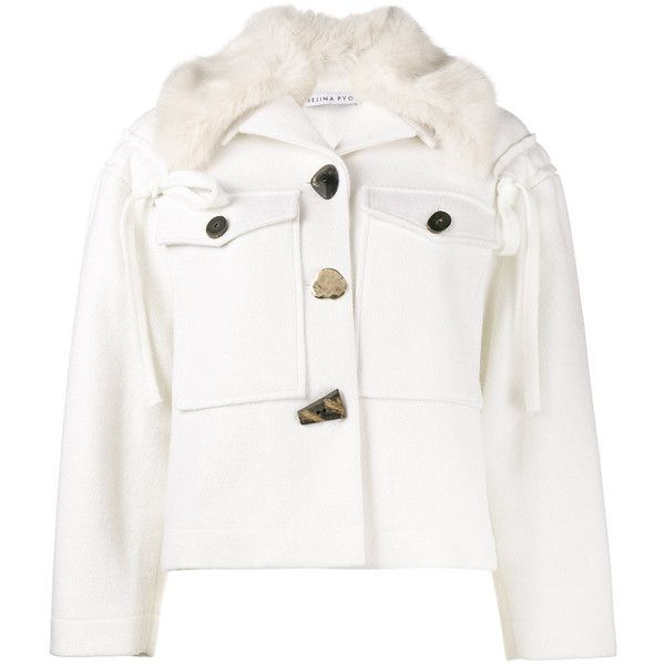 Rejina Pyo Daphne faux fur jacket ($734) ❤ liked on Polyvore featuring outerwear, jackets, white, white jacket, synthetic jacket, white faux jacket, white faux fur jacket and faux-leather jacket