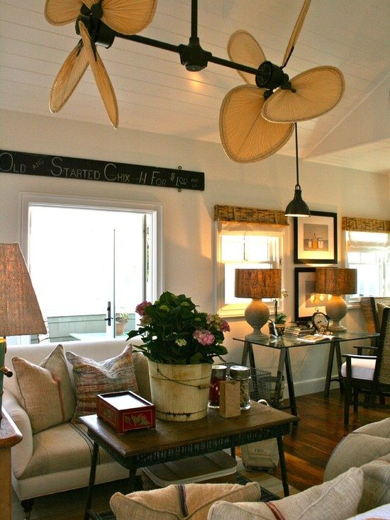 Cool Ceiling Fans With Lights : Beach Style Family Room With The Palisade Double Ceiling Fan Adds To The British Colonial Flair Of This Beac%u2026