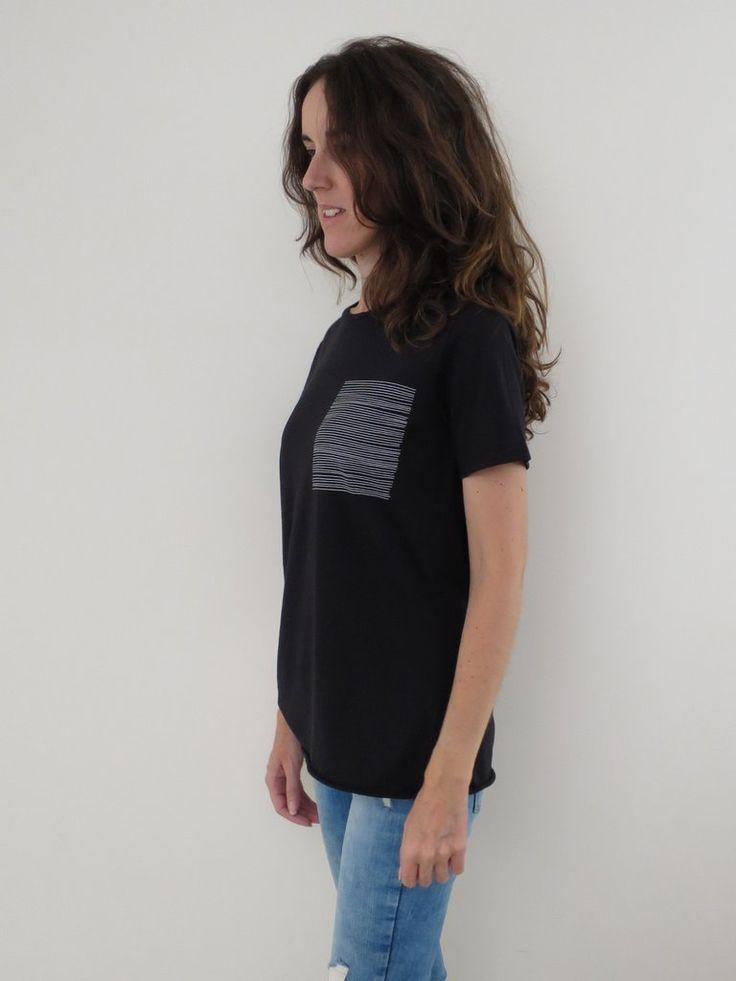 Raw Luxury Women's Stripe tee - black. www.rawluxury.com.au