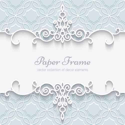 Paper lace frame vector background 03
