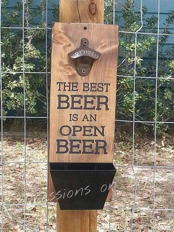 Beer Bottle Opener With Cap Catcher Wall Mount Wood Sign