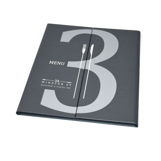 Printed Gate Fold Menu Cover - The Smart Marketing Group - Hospitality. British Gastro Menu covers. British Pub Grub themed menu presentation products.