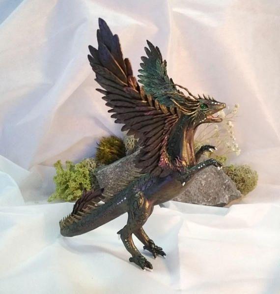 #dragon #dragon_figurine #dragon_statuette #fantasyart #winged_dragon #polymer_clay #fantasycreature
