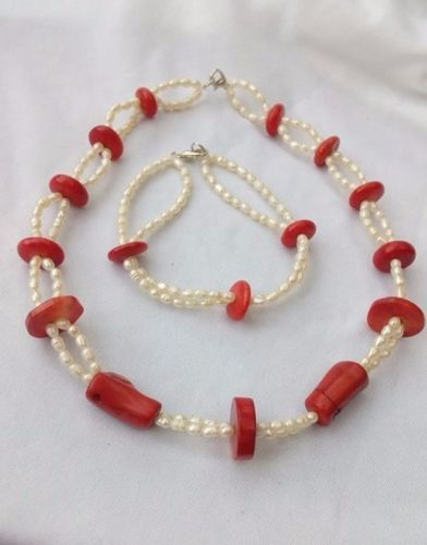 coral perle  colier bratara handmade