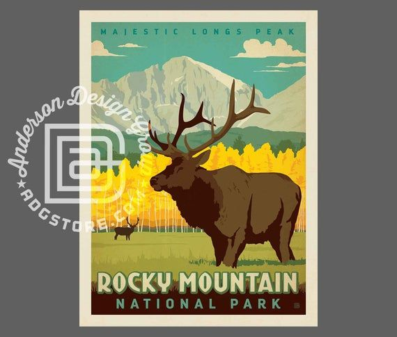 Rocky Mountain Park Travel Poster by Anderson Design Group | National Park Print | Rocky Mountain Pr