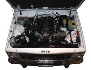 How to drop a V8 engine into a Cherokee Jeep. Go to http://www.novak-adapt.com/knowledge/xj_swap.htm