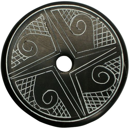 "Coal Pendant with Muisca Scroll #8  Crafted by Artisans in Colombia  Measures 1-3/4"" diameter and 1/8"" thick"