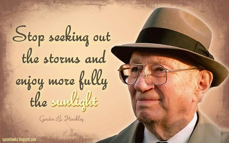 Stop seeking out the storms and enjoy more fully the sunlight. - Gordon B. Hinckley