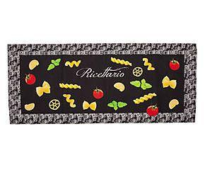 Tapis de cuisine PASTA BOOK chenille de coton et polyester, noir et multicolore - 150*60
