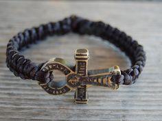 Ankh Cross Bracelet,Black String Bracelet,Macrame,Hemp Bracelet,Good Luck,Pray,Men,Woman,Yoga Bracelet,Protection,Meditation,Protection