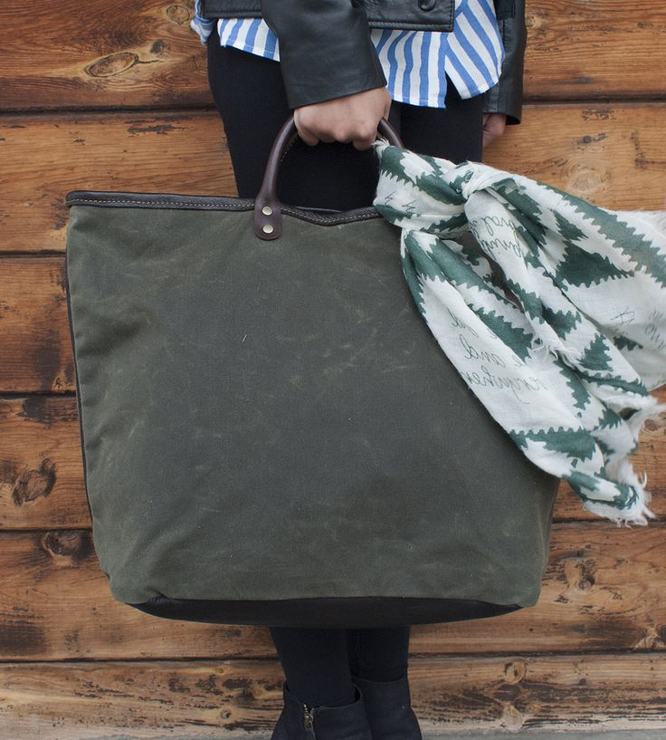 Downtown Waxed Canvas Tote Bag | Handsomely crafted in the sturdiest of materials, this waxed c... | Tote Handbags