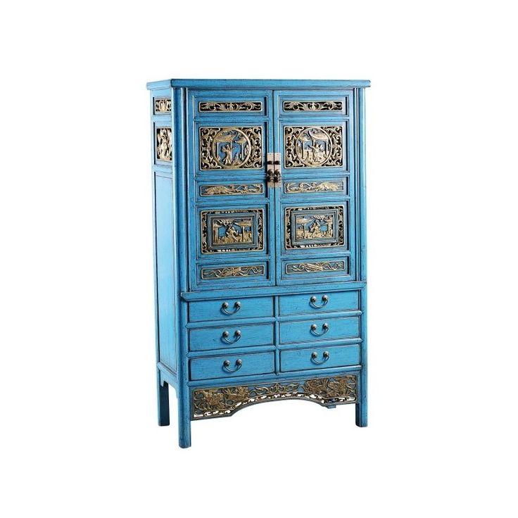 Гуйчу - традиционный шкаф-комод. Голубого цвета с декоративными вставками. Династия Мин. http://magazinmebeli.net/shkafy/210-shkaf-komod-bf-20.. #комод #купитькомод #комодвмоскве