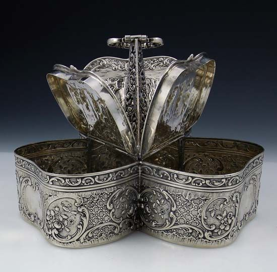 A German 800 Silver Triple Compartment Tea Caddy. ca.1900.