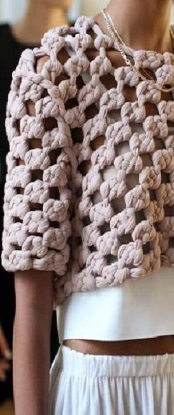 Obviously this is crochet but I like the idea of a giant open texture to layer over a tank or something else light.