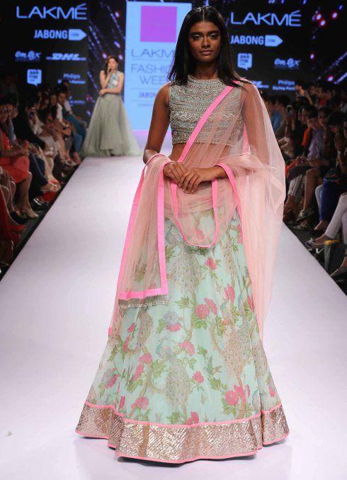 TDB Picks Mint green and pink floral lehenga Anushree Reddy at Lakme Fashion Week Summer Resort 2015